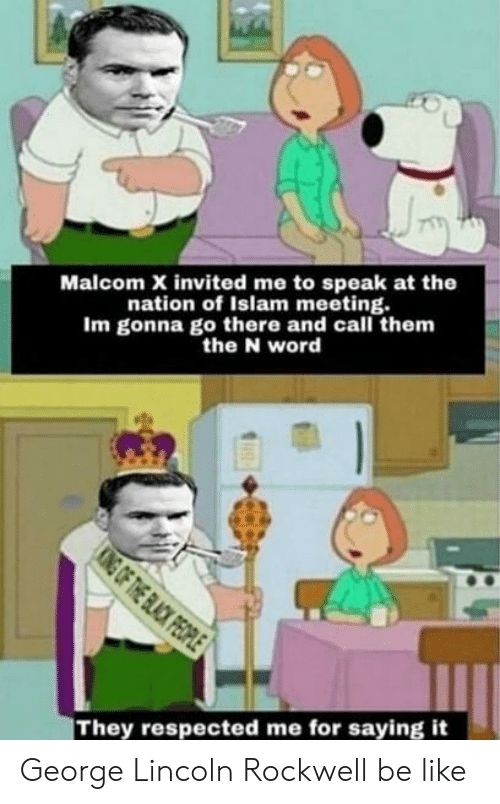 malcom x: Malcom X invited me to speak at the  nation of Islam meeting.  Im gonna go there and call them  the N word  KING OF THE BLACK PEOPLE  They respected me for saying it George Lincoln Rockwell be like