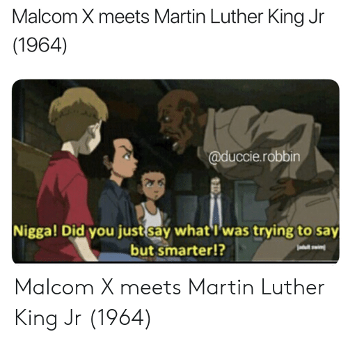 malcom x: Malcom X meets Martin Luther King Jr  (1964)  @duccie.robbin  Nigga! Did you just say what'I was trying to say  but smarter!?  ei Malcom X meets Martin Luther King Jr (1964)