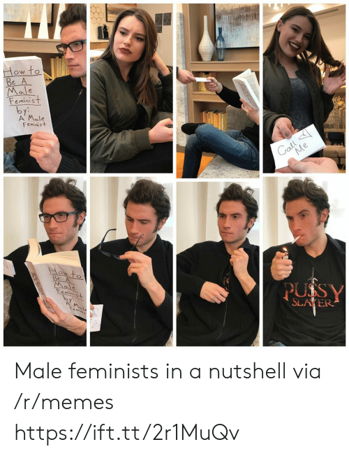 Feminists: Male  eminist  A' Male  Feminist  ON TO  SLAYER Male feminists in a nutshell via /r/memes https://ift.tt/2r1MuQv