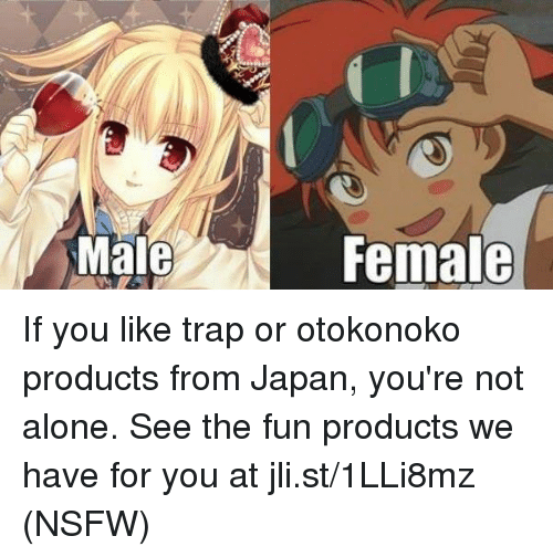 Dank, Nsfw, and Trap: Male  Female If you like trap or otokonoko products from Japan, you're not alone. See the fun products we have for you at jli.st/1LLi8mz (NSFW)