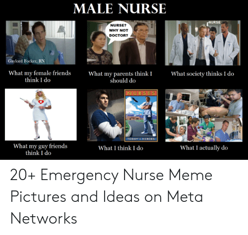 Nurse Meme: MALE NURSE  NURSE  NURSE?  WHY NOT  DOCTOR?  Gaylord Focker, RN  What my parents think I  should do  What society thinks I do  What my female friends  think I do  NURSES  TODAY S HEROES  What my guy friends  think I do  What I think I do  What I actually do 20+ Emergency Nurse Meme Pictures and Ideas on Meta Networks
