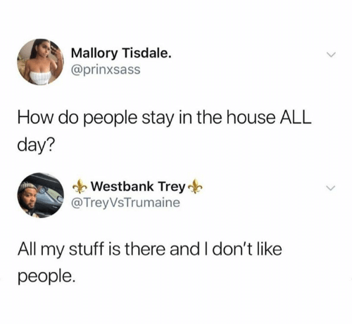 how-do-people: Mallory Tisdale.  @prinxsass  How do people stay in the house ALL  day?  Westbank Trey  @TreyVsTrumaine  All my stuff is there and I don't like  people.
