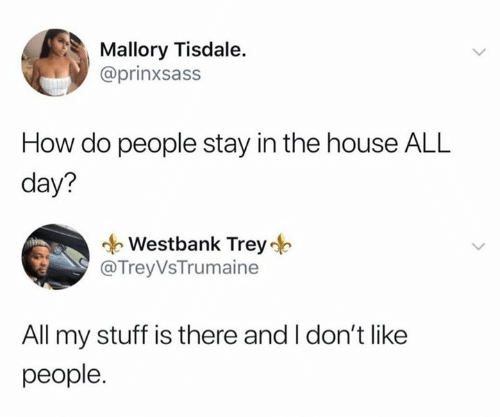 how-do-people: Mallory Tisdale.  @prinxsass  How do people stay in the house ALL  day?  Westbank Trey  @Trey VsTrumaine  All my stuff is there and I don't like  people.