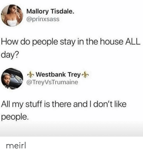 how-do-people: Mallory Tisdale.  @prinxsass  How do people stay in the house ALL  day?  Westbank Trey  @TreyVsTrumaine  All my stuff is there and I don't like  people. meirl
