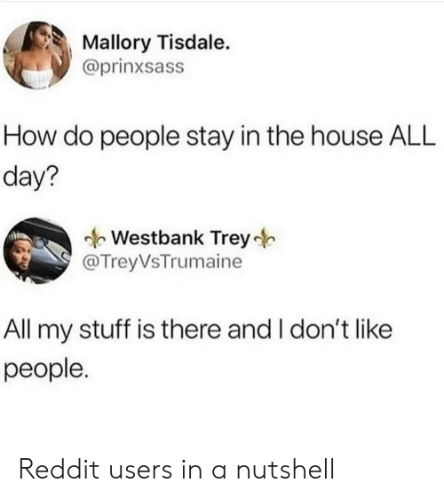 how-do-people: Mallory Tisdale.  @prinxsass  How do people stay in the house ALL  day?  Westbank Trey  @TreyVsTrumaine  All my stuff is there and I don't like  people. Reddit users in a nutshell