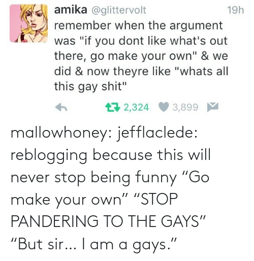 """I Am A: mallowhoney: jefflaclede:  reblogging because this will never stop being funny   """"Go make your own"""" """"STOP PANDERING TO THE GAYS"""" """"But sir… I am a gays."""""""