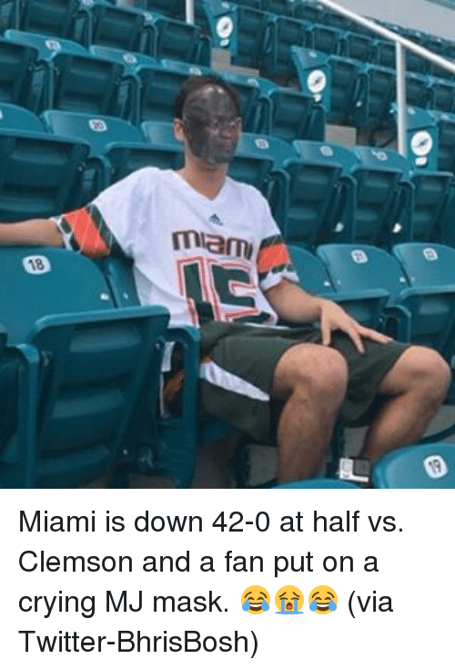 Crying, Sports, and Twitter: mam Miami is down 42-0 at half vs. Clemson and a fan put on a crying MJ mask. 😂😭😂 (via Twitter-BhrisBosh)