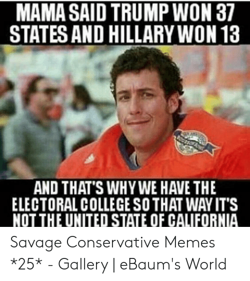 Funny Conservative Memes: MAMA SAID TRUMP WON 37  STATES AND HILLARY WON 13  AND THAT'S WHY WE HAVE THE  ELECTORAL COLLEGE SO THAT WAY IT'S  NOT THE UNITED STATE OF CALIFORNIA Savage Conservative Memes *25* - Gallery | eBaum's World