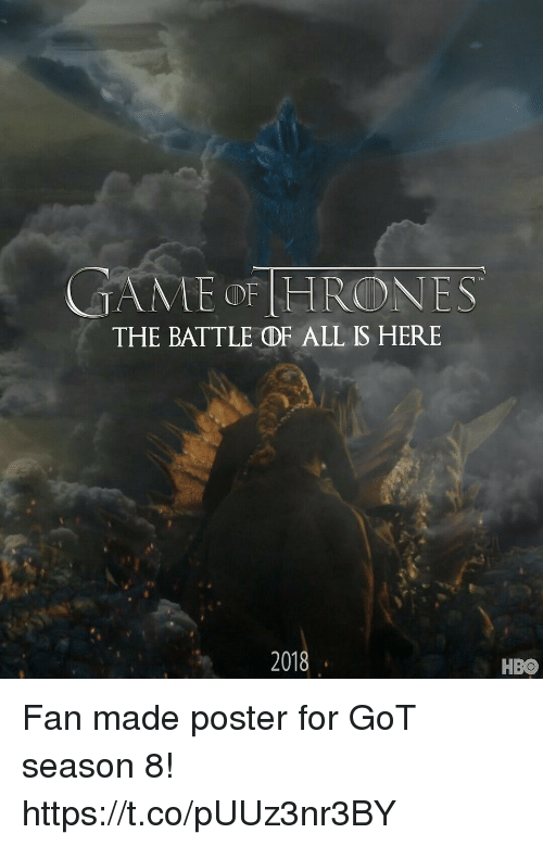 Hbo, Memes, and 🤖: MAME OF HRONES  THE BATTLE DF ALL IS HERE  2018  HBO Fan made poster for GoT season 8! https://t.co/pUUz3nr3BY