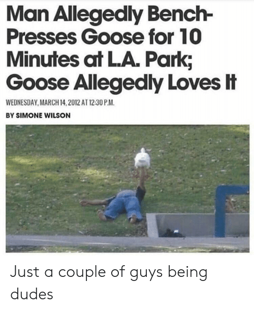 March 14: Man Allegedly Bench-  Presses Goose for 10  Minutes at LA. Park;  Goose Allegedly Loves忄  WEDNESDAY MARCH 14,2012 AT 12:30 P.M  BY SIMONE WILSON Just a couple of guys being dudes