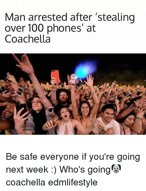 Anaconda, Coachella, and Memes: Man arrested after 'stealing  over 100 phones' at  Coachella Be safe everyone if you're going next week :) Who's going🐶 coachella edmlifestyle