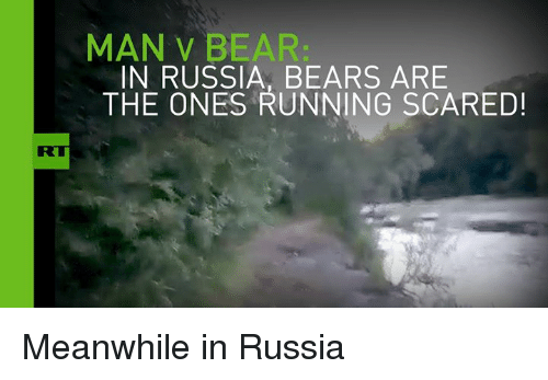 Luxembourgball: MAN BEAR  IN RUSSIA, BEARS ARE  THE ONES RUNNING SCARED! Meanwhile in Russia