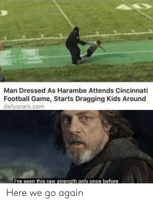 Cincinnati: Man Dressed As Harambe Attends Cincinnati  Football Game, Starts Dragging Kids Around  dailysnark.com  I've seen this raw strength only once before Here we go again