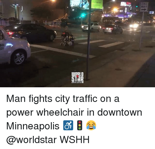 Memes, Traffic, and Worldstar: Man fights city traffic on a power wheelchair in downtown Minneapolis ♿🚦😂 @worldstar WSHH