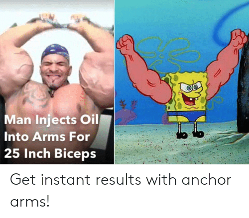 biceps: Man Injects Oil  Into Arms For  25 Inch Biceps Get instant results with anchor arms!