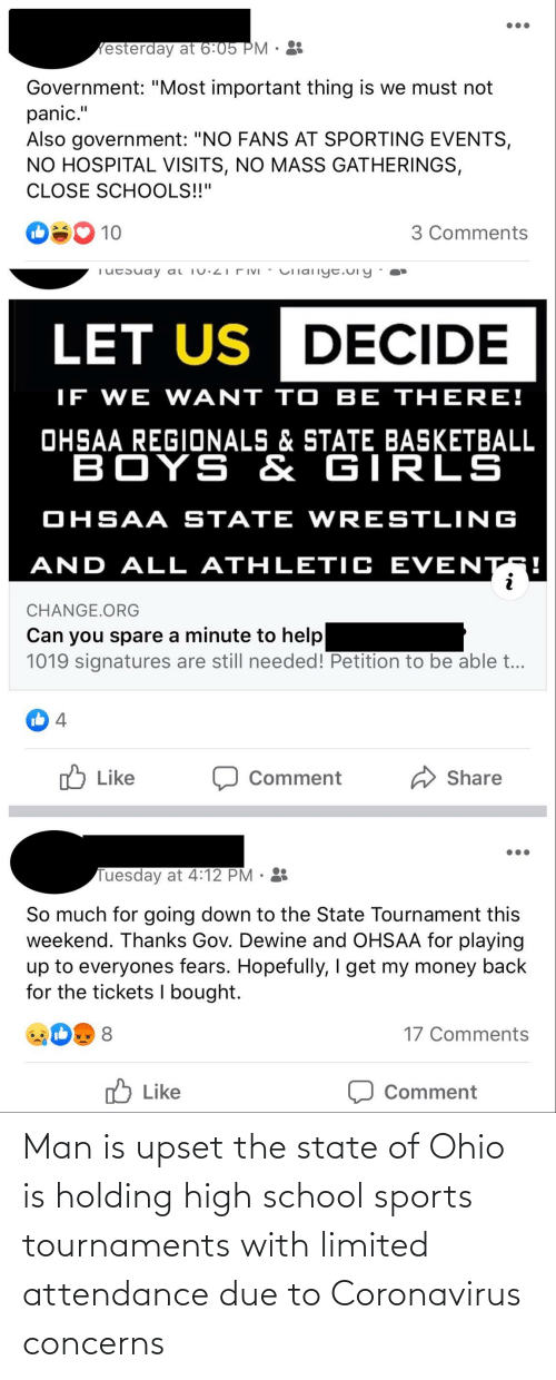 Attendance: Man is upset the state of Ohio is holding high school sports tournaments with limited attendance due to Coronavirus concerns