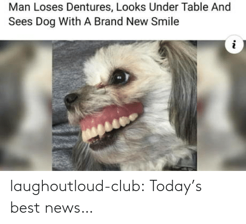 brand: Man Loses Dentures, Looks Under Table And  Sees Dog With A Brand New Smile laughoutloud-club:  Today's best news…