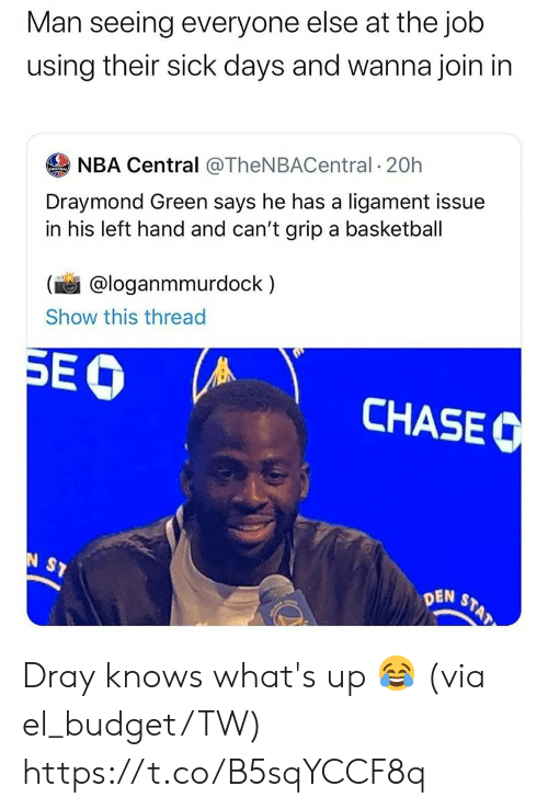 ligament: Man seeing everyone else at the job  using their sick days and wanna join in  NBA Central @TheNBACentral 20h  Draymond Green says he has a ligament issue  in his left hand and can't grip a basketball  @loganmmurdock  Show this thread  SEO  CHASEC  N ST  STAT  DEN Dray knows what's up 😂 (via el_budget/TW) https://t.co/B5sqYCCF8q