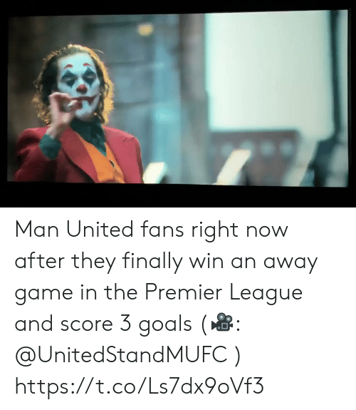 man united: Man United fans right now after they finally win an away game in the Premier League and score 3 goals (🎥: @UnitedStandMUFC )  https://t.co/Ls7dx9oVf3