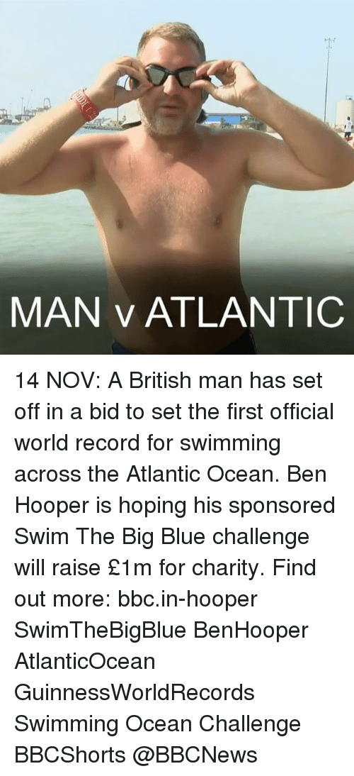 Big Blue: MAN v ATLANTIC 14 NOV: A British man has set off in a bid to set the first official world record for swimming across the Atlantic Ocean. Ben Hooper is hoping his sponsored Swim The Big Blue challenge will raise £1m for charity. Find out more: bbc.in-hooper SwimTheBigBlue BenHooper AtlanticOcean GuinnessWorldRecords Swimming Ocean Challenge BBCShorts @BBCNews