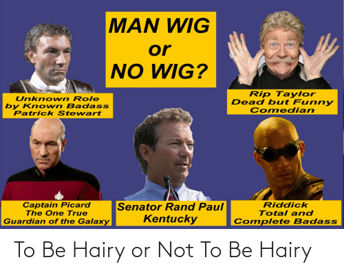captain picard: MAN WIG  or  NO WIG?  Rip Taylor  Dead but Funny  Comedian  Unknown Role  by Known Badass  Patrick Stewart  Captain Picard  The One True  Guardian of the Galaxy  Senator Rand Paul  Kentucky  Riddick  Total and  Complete Badass To Be Hairy or Not To Be Hairy