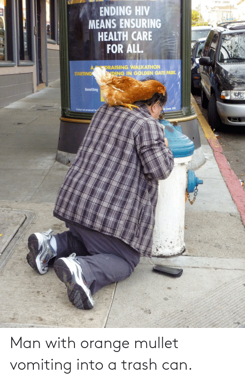 Vomiting: Man with orange mullet vomiting into a trash can.