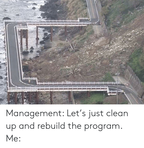 Clean Up: Management: Let's just clean up and rebuild the program. Me: