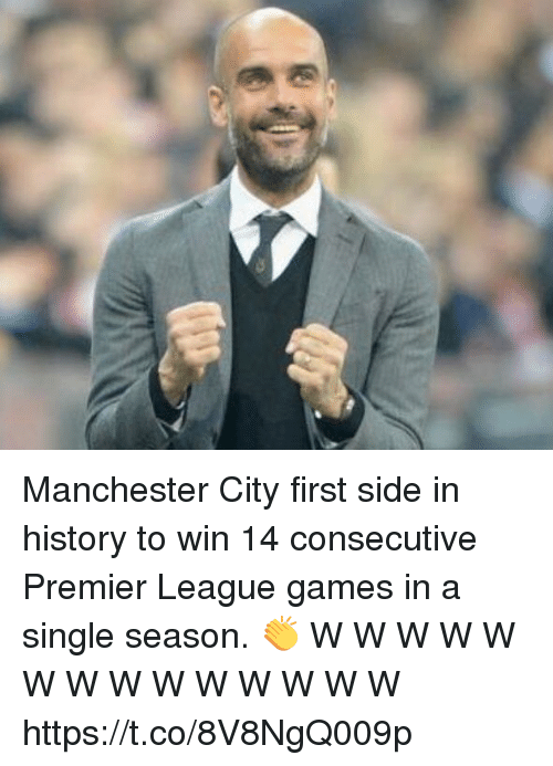 premier-league-games: Manchester City first side in history to win 14 consecutive Premier League games in a single season. 👏  W W W W W W W W W W W W W W https://t.co/8V8NgQ009p