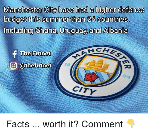 Albania: Manchester City have had a higher defence  budget this summer than 26 countries.  Including Chana, Uruguay, and Albania  The Futnet  O @thefutnet  78  9  CITY Facts ... worth it? Comment 👇
