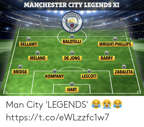 Ireland: MANCHESTER CITY LEGENDS XI  CITY  MORTLE F 0  BALOTELLI  BELLAMY  WRIGHT-PHILLIPS  IRELAND  DE JONG  BARRY  BRIDGE  ZABALETA  LESCOTT  KOMPANY  HART Man City 'LEGENDS' 😂😭😂 https://t.co/eWLzzfc1w7