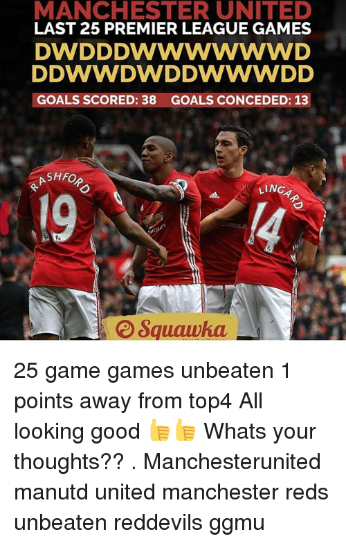 premier-league-games: MANCHESTER UNITED  LAST 25 PREMIER LEAGUE GAMES  DW DDDWWWWWWD  DWWDWD DWWWDD  GOALS SCORED: 38 GOALS CONCEDED: 13  SHFO  LINC  ROLE 25 game games unbeaten 1 points away from top4 All looking good 👍👍 Whats your thoughts?? . Manchesterunited manutd united manchester reds unbeaten reddevils ggmu