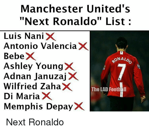 "Memes, Manchester United, and Bebe: Manchester United's  ""Next Ronaldo"" List c  Luis Nani  X  Antonio Valencia  X  Bebe  ONALD  Ashley Young  Adnan Januzaj  X  Wilfried Zaha  The LAD Football  Di Maria  X  Memphis Depay Next Ronaldo"