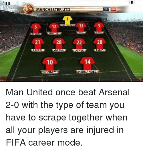 evra: MANCHESTER UTD  12  21  28  RAFAEL  10  ROONE  EVRA  20  22  FABIO  14  HERNANDEZ Man United once beat Arsenal 2-0 with the type of team you have to scrape together when all your players are injured in FIFA career mode.