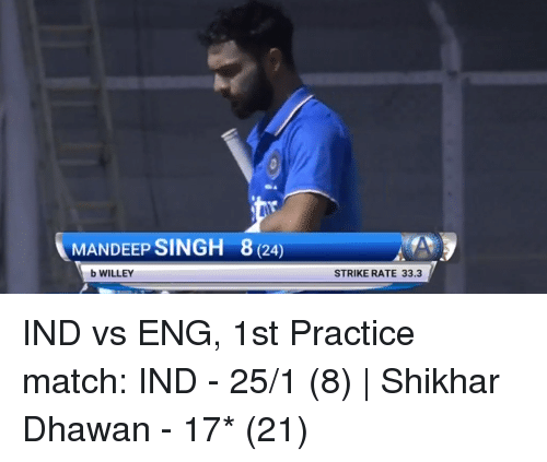 MANDEEP SINGH 8 24 B WILLEY STRIKE RATE 333 IND vs ENG 1st ...