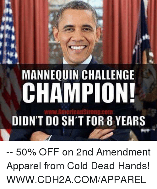 cold-dead-hands: MANNEQUIN CHALLENGE  CHAMPION!  www AnnericanStrong.com  DIDN'T DO SH T FOR 8 YEARS -- 50% OFF on 2nd Amendment Apparel from Cold Dead Hands! WWW.CDH2A.COM/APPAREL