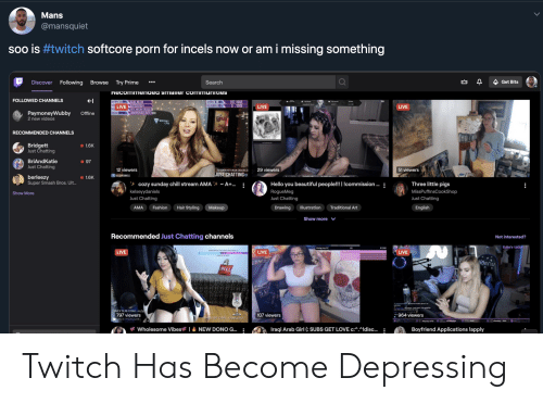 dys: Mans  @mansquiet  soo is #twitch softcore porn for incels now or am i missing something  Following  Discover  Browse  Try Prime  Search  Get Bits  necommenaea smalier communities  FOLLOWED CHANNELS  OLLOW M  CHEER CORL  937/1000  D /2000  AGUA MELON  BUINES192  FATTY MELON CRSS6.00  LIVE  LIVE  LIVE  PaymoneyWubby  2 new videOS  LRBRONSAVACELAER 000  Offine  LAS  RECOMMENDED CHANNELS  Bridgett  Just Chatting  1.6K  BriAndKatie  Just Chatting  97  12 viewers  51 viewers  29 viewers  TOP SONDRFRITY MELOR CRSA82 33  JUST CHATTING  RSEWORNELS  berleezy  Super Smash Bros. Ult..  1.6K  tcozy sunday chill stream AMAt A+..  Hello you beautiful people!!! Icommission  Three little pigs  :  kelseyydaniels  Just Chatting  MissPuffinsCookShop  RogueMeg  Show More  Just Chatting  Just Chatting  Hair Styling  Fashion  Makeup  AMA  Drawing  Illustration  Traditional Art  English  Show more  Recommended Just Chatting channels  Not interested?  Subs's today:  ing my PC  $1500  RPEARES  LIVE  LIVE  LIVE  ENDSIN DYS  NOVOro  HILL  nt mke  DAILY SUB COAL 15/20  797 viewers  ADETHtAGUAR  107 viewers  964 viewers  DAILY BIT COAL:1209/3000 Twitch Has Become Depressing