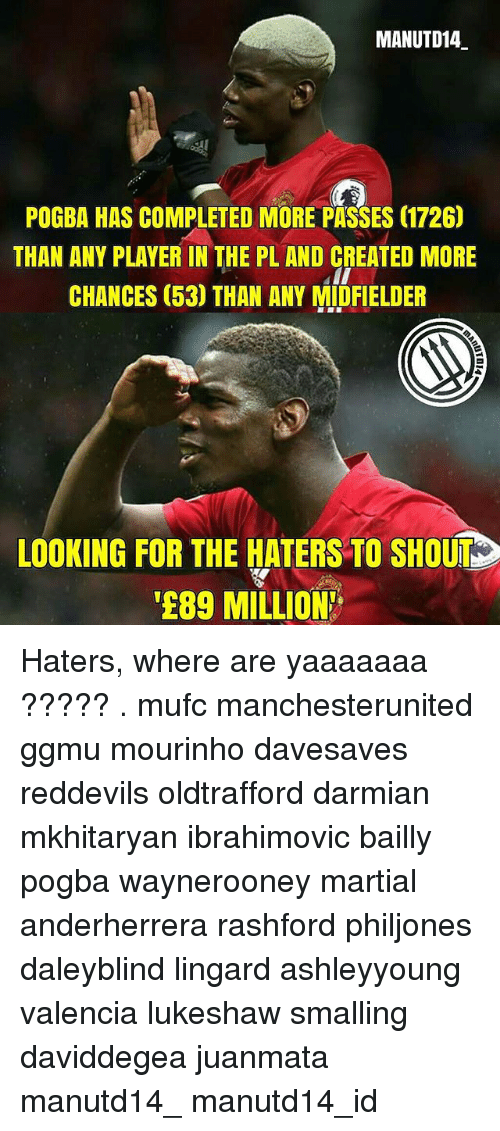 """Memes, Martial, and 🤖: MANUTD14  POGBA HAS COMPLETED MORE PASSES 17260  THAN ANY PLAYER IN THE PL AND CREATED MORE  CHANCES 53) THAN ANY MIDFIELDER  LOOKING FOR THE HATERS TO SHOUD  """"E89 MILLION Haters, where are yaaaaaaa ????? . mufc manchesterunited ggmu mourinho davesaves reddevils oldtrafford darmian mkhitaryan ibrahimovic bailly pogba waynerooney martial anderherrera rashford philjones daleyblind lingard ashleyyoung valencia lukeshaw smalling daviddegea juanmata manutd14_ manutd14_id"""