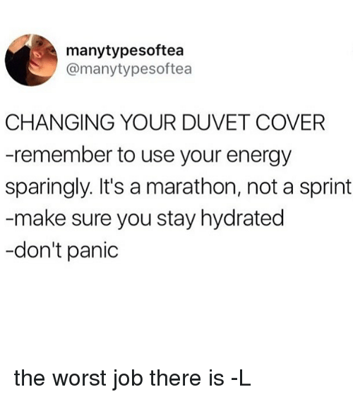 Energy, The Worst, and Sprint: manytypesoftea  @manytypesoftea  CHANGING YOUR DUVET COVER  -remember to use your energy  sparingly. It's a marathon, not a sprint  make sure you stay hydrated  -don't panic the worst job there is -L