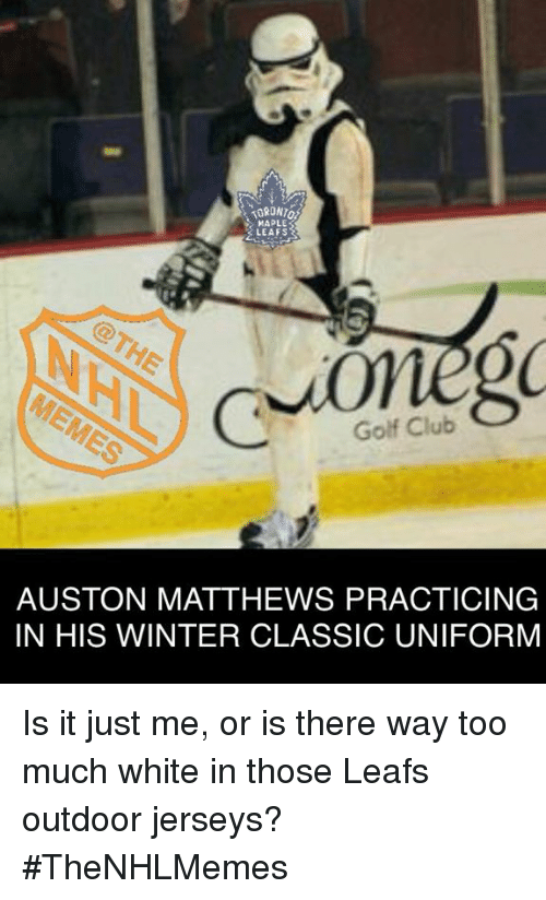 Auston Matthews: MAPLE  LEAFS  Golf Club  AUSTON MATTHEWS PRACTICING  IN HIS WINTER CLASSIC UNIFORM Is it just me, or is there way too much white in those Leafs outdoor jerseys? #TheNHLMemes