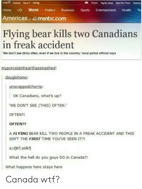 Canadians: mar  TODAY Nghty N  e P D  bings  World  Business  Home  US  Politics  Sports  Entertainment  Health  Americas msnbc.com  Flying bear kills two Canadians  in freak accident  We don't see (this) often, even if we live in the country, local police official says  myporcelainhearthassmashed:  dayglohomo:  unwrappedcherie  OK Canadians, what's up?  WE DON'T SEE (THIS) OFTEN.  OFTEN?!  OFTEN?!  A FLYING BEAR KILL TWO PEOPLE IN A FREAK ACCIDENT AND THIS  ISNT THE FIRST TIME YOU'VE SEEN IT?!  a:djkf; aslkfj  What the hell do you guys DO in Canada?!  What happens here stays here Canada wtf?