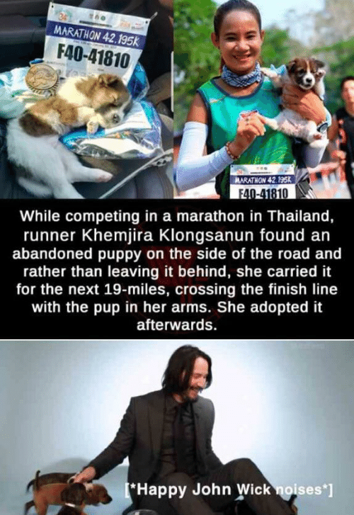 john wick: MARATHON 42.195k  F40-41810  ARATHON 42.195K  F40-41810  While competing in a marathon in Thailand,  runner Khemjira Klongsanun found an  abandoned puppy on the side of the road and  rather than leaving it behind, she carried it  for the next 19-miles, crossing the finish line  with the pup in her arms. She adopted it  afterwards  *Happy John Wick noises*]