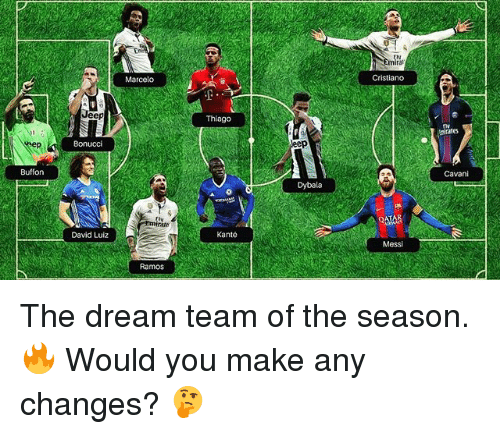 Soccer, Sports, and Jeep: Marcelo  Cristiano  Jeep  Thlago  irates  eep  Bonucci  Buffon  Cavani  Dybala  0  David Luiz  Kante  Messi  Ramos The dream team of the season. 🔥 Would you make any changes? 🤔