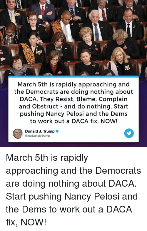 Work, Trump, and Nancy Pelosi: March 5th is rapidly approaching and  the Democrats are doing nothing about  DACA. They Resist, Blame, Complairn  and Obstruct - and do nothing. Start  pushing Nancy Pelosi and the Dems  to work out a DACA fix, NOW!  Donald J. Trump .  @realDonaldTrump March 5th is rapidly approaching and the Democrats are doing nothing about DACA. Start pushing Nancy Pelosi and the Dems to work out a DACA fix, NOW!