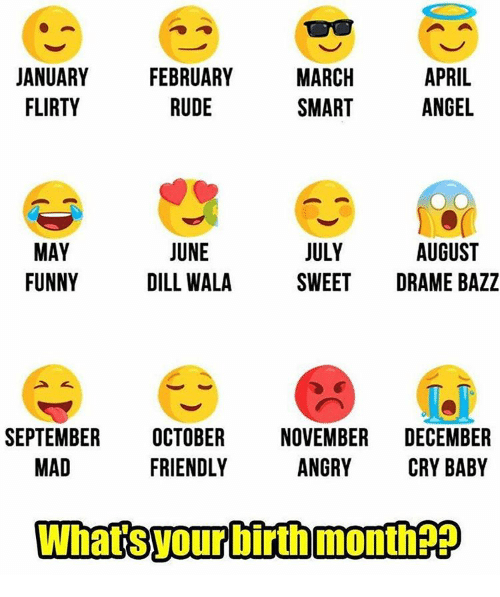 crying babies: MARCH  APRIL  JANUARY  FEBRUARY  FLIRTY  SMART  ANGEL  RUDE  JUNE  JULY  MAY  AUGUST  FUNNY  DILL WALA  SWEET  DRAME BAZZ  SEPTEMBER  OCTOBER  NOVEMBER  DECEMBER  MAD  FRIENDLY  ANGRY  CRY BABY  WhatsTourbirth month