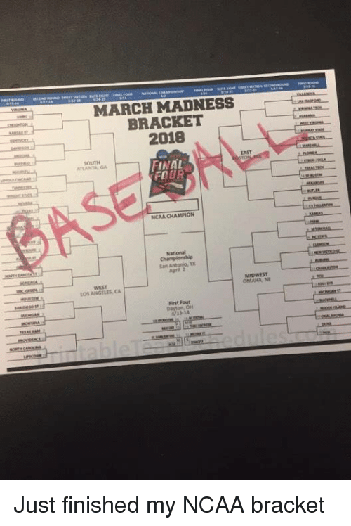March Madness, Mlb, and Ncaa: MARCH MADNESS  BRACKET  2018  EAST  SOUTH  TLANTA GA  FINAL  FOUR  NCAA CHAMPION  National  Agril 2  WEST  OS ANGELES CA  MIDWEST  OMAHA, NE  Firnst Four  /13-14 Just finished my NCAA bracket