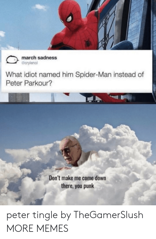 punk: march sadness  @crylenol  What idiot named him Spider-Man instead of  Peter Parkour?  Don't make me come down  there, you punk peter tingle by TheGamerSlush MORE MEMES