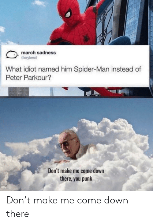 Idiot: march sadness  @crylenol  What idiot named him Spider-Man instead of  Peter Parkour?  Don't make me come down  there, you punk Don't make me come down there