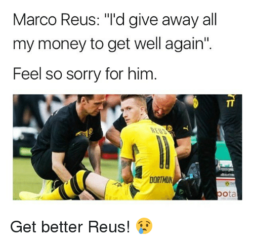 """reus: Marco Reus: """"I'd give away all  my money to get well again""""  Feel so sorry for him  DORTMU Get better Reus! 😢"""