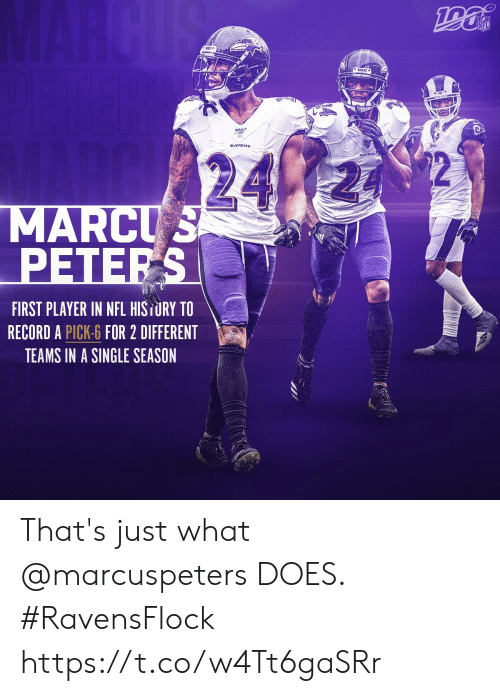 Teams: MARCUS  NFL  24  MARCUS  PETERS  FIRST PLAYER IN NFL HISTURY TO  RECORD A PICK-6 FOR 2 DIFFERENT  TEAMS IN A SINGLE SEASON That's just what @marcuspeters DOES.   #RavensFlock https://t.co/w4Tt6gaSRr