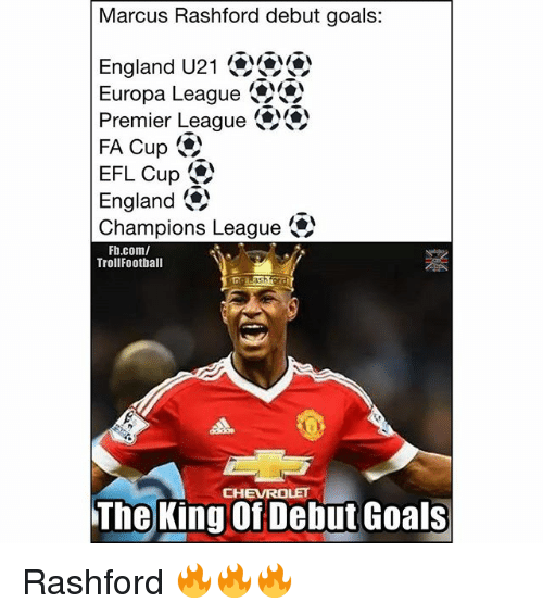 England, Goals, and Memes: Marcus Rashford debut goals:  England U21  Premier League  Europa League  FA Cup -  EFL Cup ()  England。)  Champions League  Fb.com/  TrollFootball  CHEVROLET  The King Of Debut Goals Rashford 🔥🔥🔥
